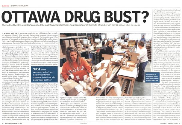 Article Preview: OTTAWA DRUG BUST?, February 21st 2005 | Maclean's