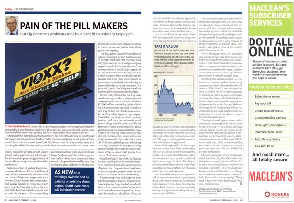 Article Preview: PAIN OF THE PILL MAKERS, February 21st 2005 | Maclean's