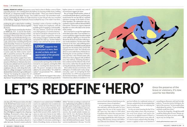 Article Preview: LET'S REDEFINE 'HERO', February 28th 2005 | Maclean's