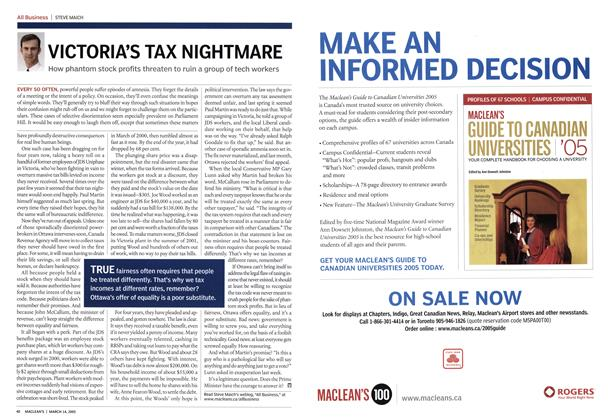 Article Preview: VICTORIA'S TAX NIGHTMARE, March 14th 2005 | Maclean's