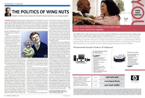 Article Preview: THE POLITICS OF WING NUTS, March 21st 2005 | Maclean's