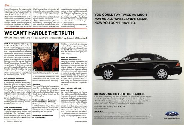 Article Preview: WE CAN'T HANDLE THE TRUTH, March 28th 2005 | Maclean's