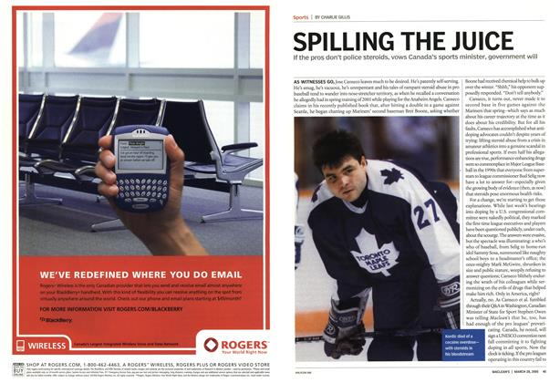 Article Preview: SPILLING THE JUICE, March 28th 2005 | Maclean's