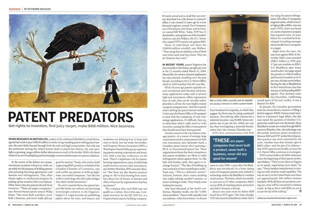 Article Preview: PATENT PREDATORS, March 28th 2005 | Maclean's