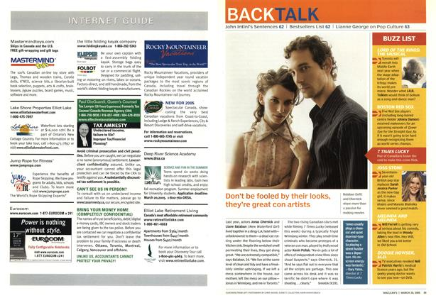 Article Preview: Don't be fooled by their looks, they're great con artists, March 28th 2005 | Maclean's