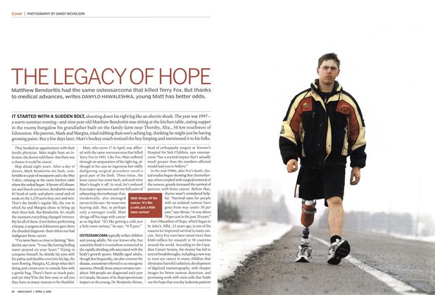 Article Preview: THE LEGACY OF HOPE, April 2005 | Maclean's