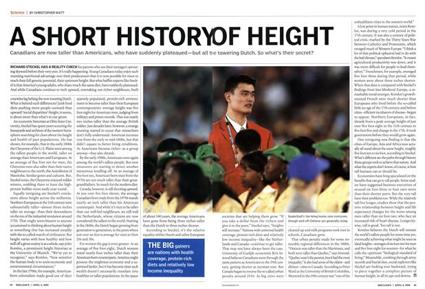 Article Preview: A SHORT HISTORY OF HEIGHT, April 4th 2005 | Maclean's