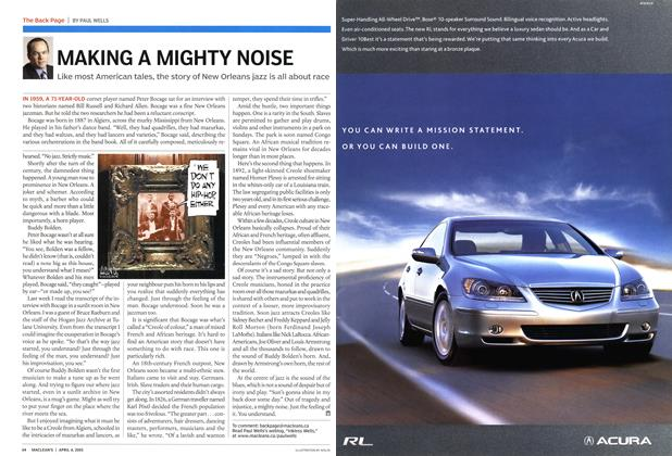 Article Preview: MAKING A MIGHTY NOISE, April 4th 2005 | Maclean's