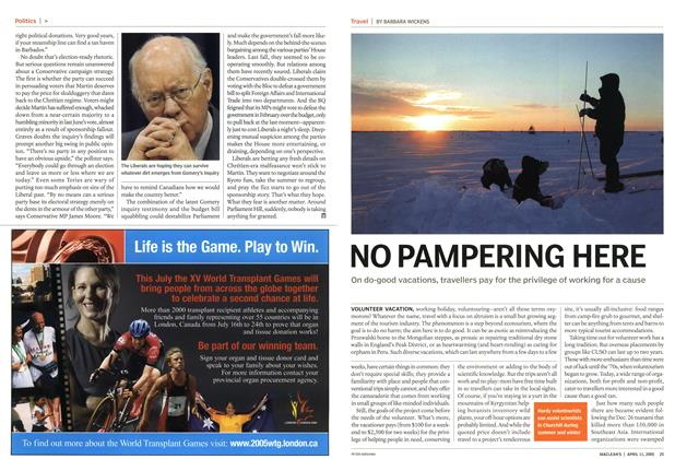 Article Preview: NO PAMPERING HERE, April 11th 2005 | Maclean's
