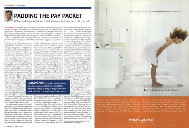 Article Preview: PADDING THE PAY PACKET, April 11th 2005 | Maclean's