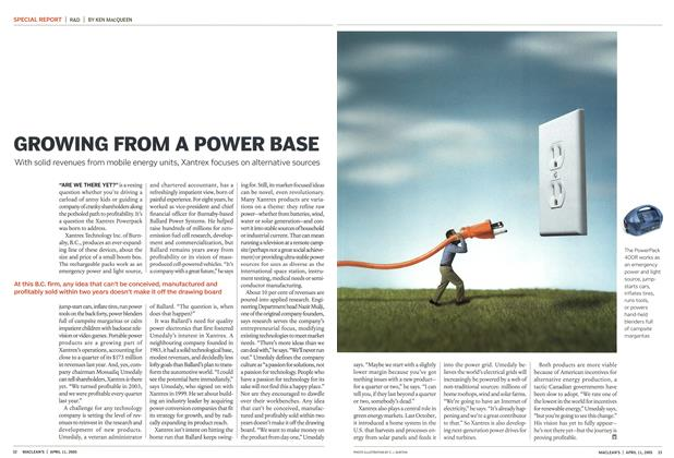 Article Preview: GROWING FROM A POWER BASE, April 11th 2005 | Maclean's