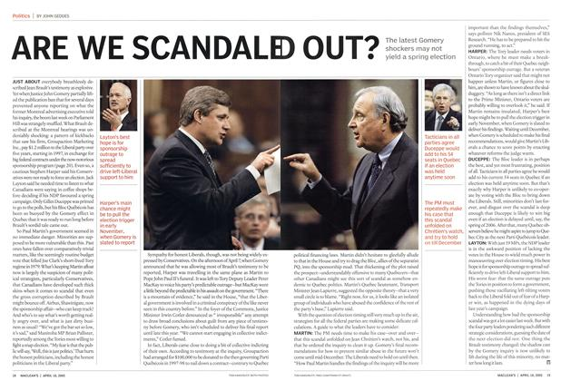 Article Preview: ARE WE SCANDALED OUT?, April 18th 2005 | Maclean's