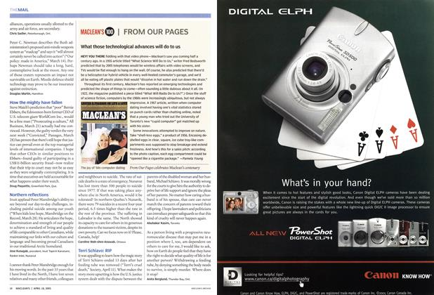 Article Preview: What those technological advances will do to us, April 18th 2005 | Maclean's