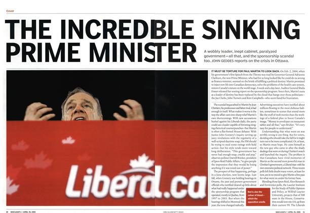 Article Preview: THE INCREDIBLE SINKING PRIME MINISTER, April 25th 2005 | Maclean's
