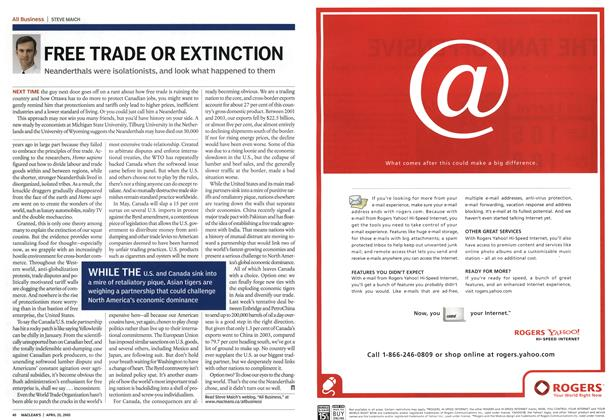 Article Preview: FREE TRADE OR EXTINCTION, April 25th 2005 | Maclean's