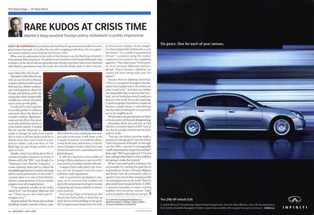 Article Preview: RARE KUDOS AT CRISIS TIME, May 2005 | Maclean's