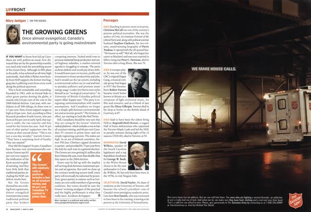 Article Preview: THE GROWING GREENS, May 9th 2005 | Maclean's