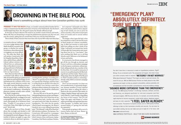 Article Preview: DROWNING IN THE BILE POOL, May 16th 2005 | Maclean's