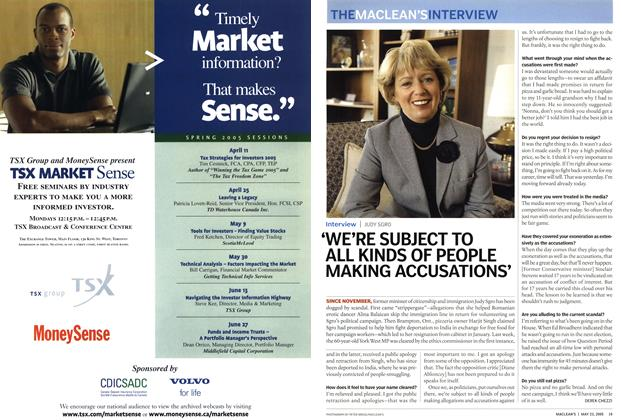 Article Preview: 'WE'RE SUBJECT TO ALL KINDS OF PEOPLE MAKING ACCUSATIONS', May 23rd 2005 | Maclean's