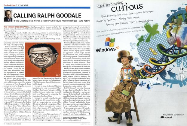 Article Preview: CALLING RALPH GOODALE, May 23rd 2005 | Maclean's