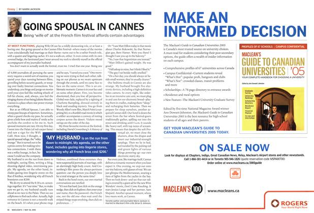 Article Preview: GOING SPOUSAL IN CANNES, May 30th 2005 | Maclean's