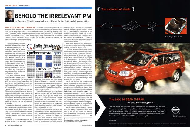 Article Preview: BEHOLD THE IRRELEVANT PM, June 2005 | Maclean's