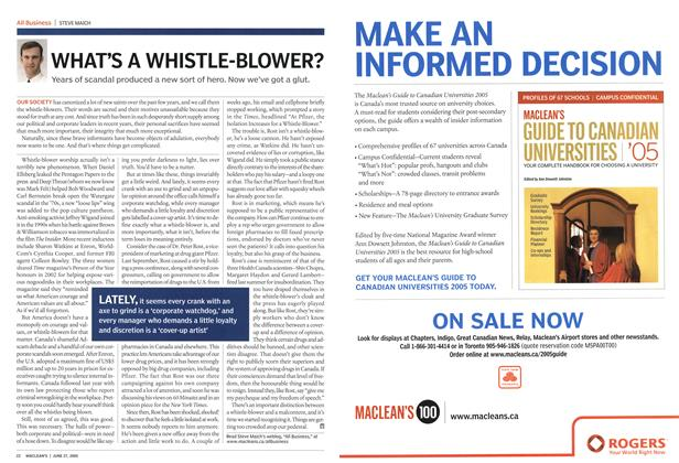 Article Preview: WHAT'S A WHISTLE-BLOWER?, June 27th 2005 | Maclean's