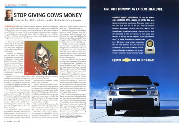 Article Preview: STOP GIVING COWS MONEY, July 4th 2005 | Maclean's