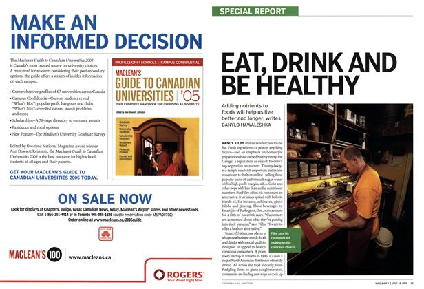 Article Preview: EAT, DRINK AND BE HEALTHY, July 18th 2005 | Maclean's