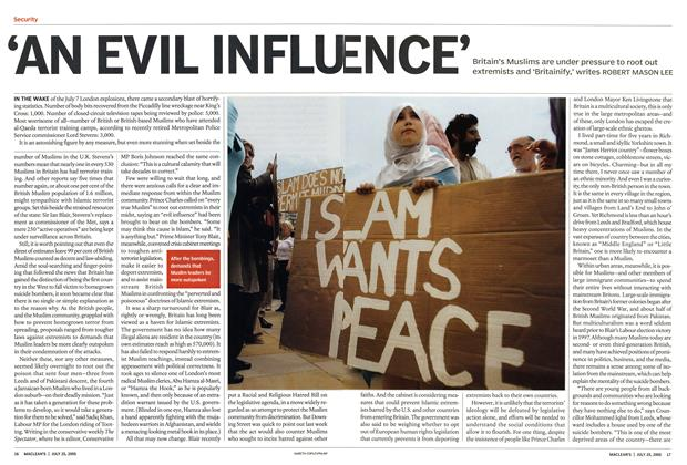 Article Preview: 'AN EVIL INFLUENCE', July 2005 | Maclean's