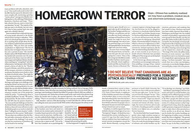 Article Preview: HOMEGROWN TERROR, July 25th 2005 | Maclean's