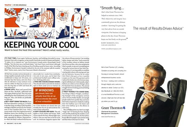 Article Preview: KEEPING YOUR COOL, July 25th 2005 | Maclean's