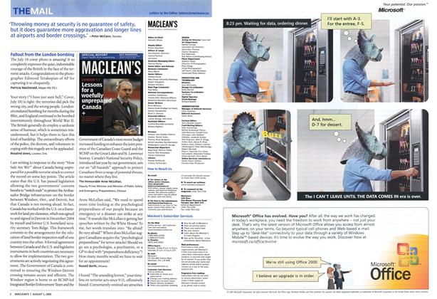 Article Preview: THE MAIL, August 1st 2005   Maclean's