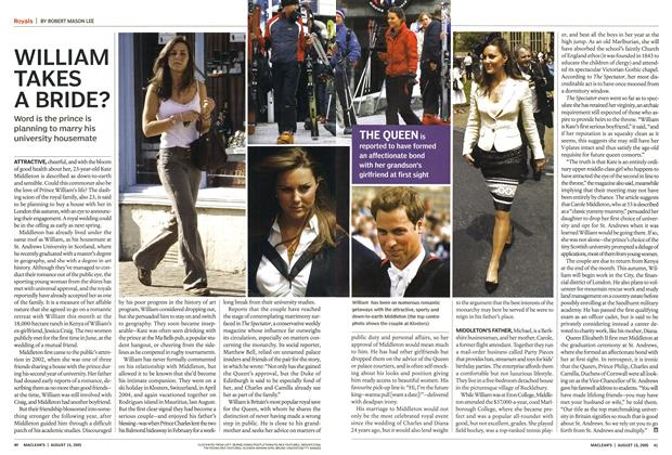 Article Preview: WILLIAM TAKES A BRIDE?, August 15th 2005 | Maclean's