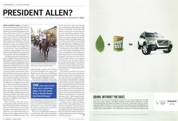 Article Preview: PRESIDENT ALLEN?, August 22nd 2005 | Maclean's