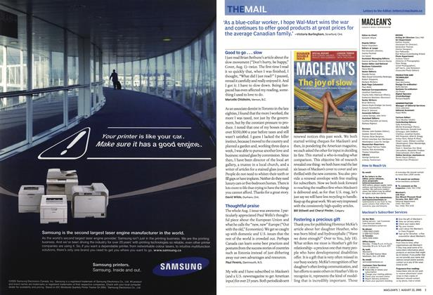 Article Preview: THE MAIL, August 22nd 2005 | Maclean's
