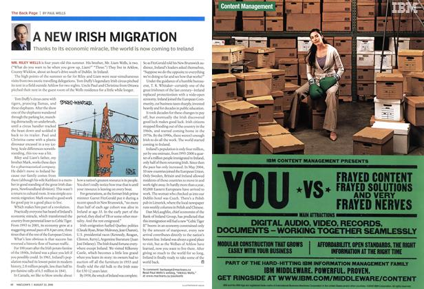 Article Preview: A NEW IRISH MIGRATION, August 22nd 2005 | Maclean's