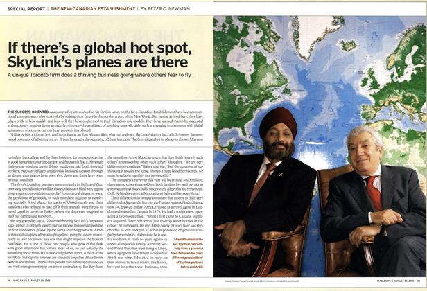 Article Preview: If there's a global hot spot, SkyLink's planes are there, August 29th 2005 | Maclean's