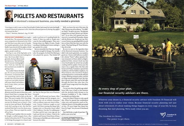 Article Preview: PIGLETS AND RESTAURANTS, September 5th 2005 | Maclean's
