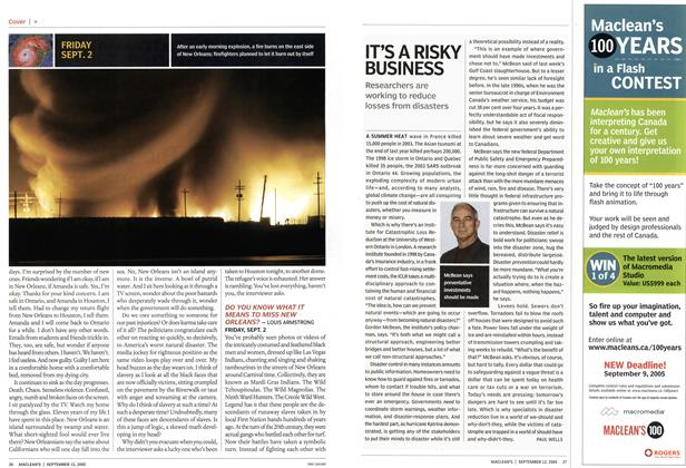 Article Preview: IT'S A RISKY BUSINESS, September 2005 | Maclean's
