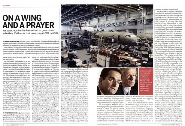 Article Preview: ON A WING AND A PRAYER, September 19th 2005 | Maclean's