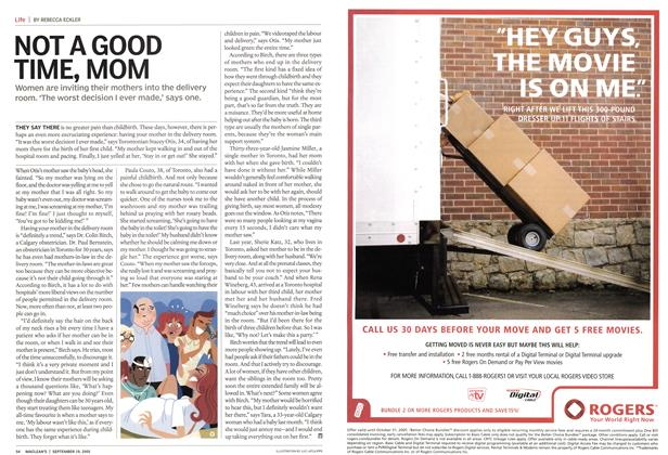 Article Preview: NOT A GOOD TIME, MOM, September 19th 2005 | Maclean's