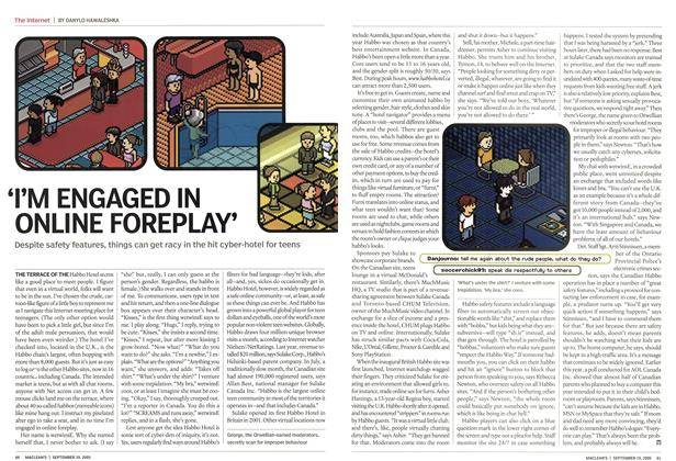 Article Preview: 'I'M ENGAGED IN ONLINE FOREPLAY', September 19th 2005 | Maclean's
