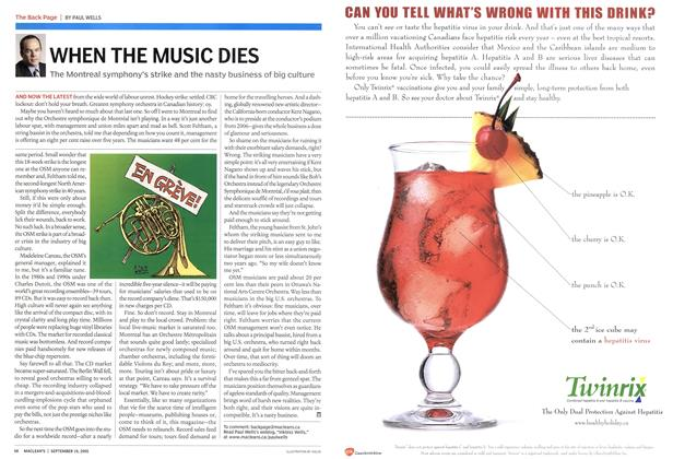 Article Preview: WHEN THE MUSIC DIES, September 19th 2005 | Maclean's
