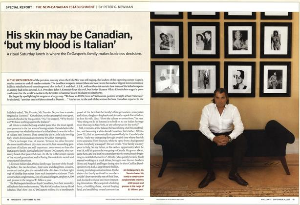 Article Preview: His skin may be Canadian, 'but my blood is Italian', September 26th 2005 | Maclean's