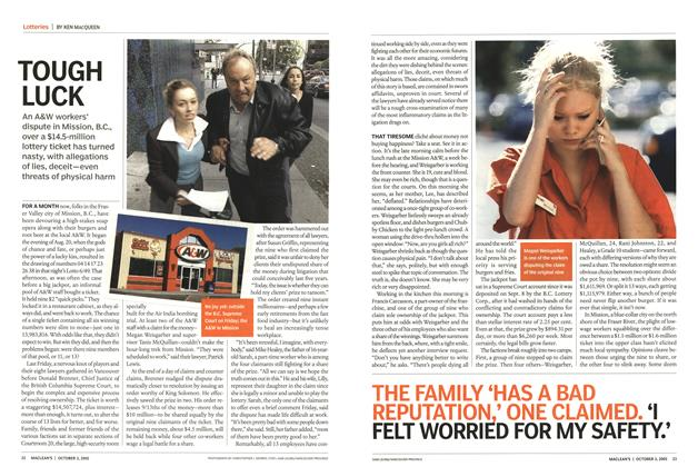 Article Preview: TOUGH LUCK, October 3rd 2005   Maclean's
