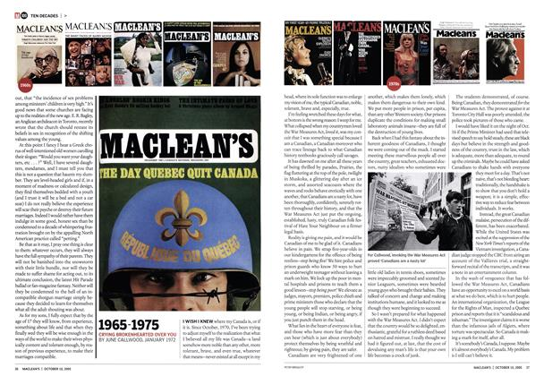Article Preview: 1965-1975, October 10th 2005 | Maclean's