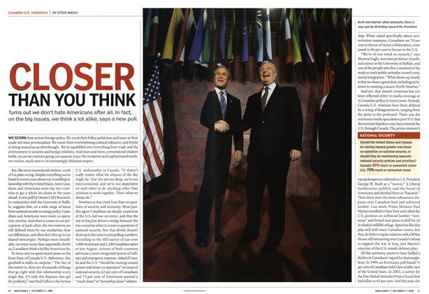 Article Preview: CLOSER THAN YOU THINK, October 17th 2005 | Maclean's