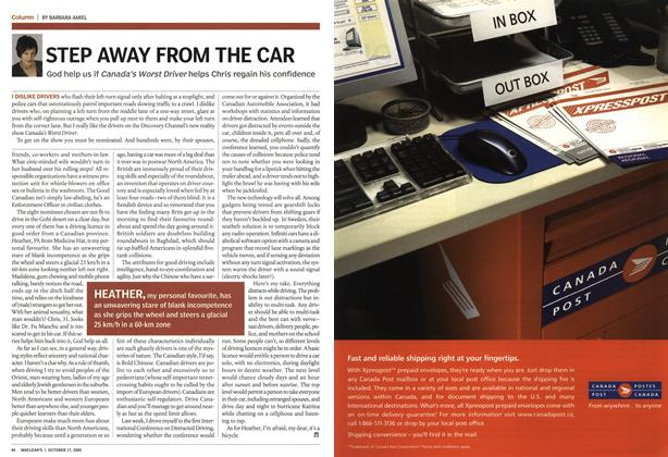 Article Preview: STEP AWAY FROM THE CAR, October 17th 2005 | Maclean's