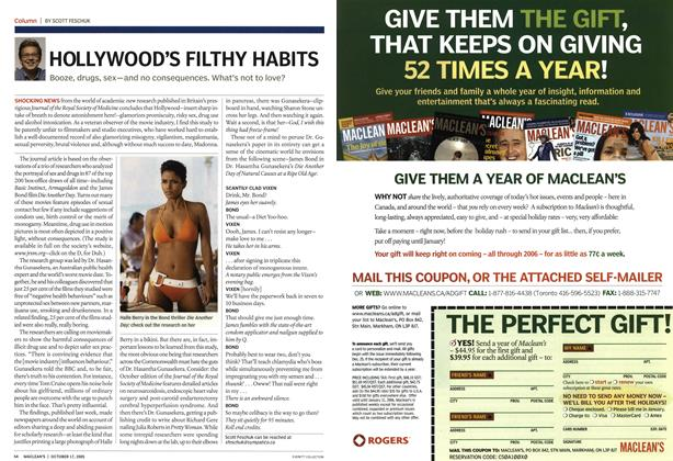 Article Preview: HOLLYWOOD'S FILTHY HABITS, October 17th 2005 | Maclean's